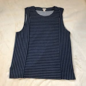 NWOT J. Crew Blue and White Striped Cotton Tank